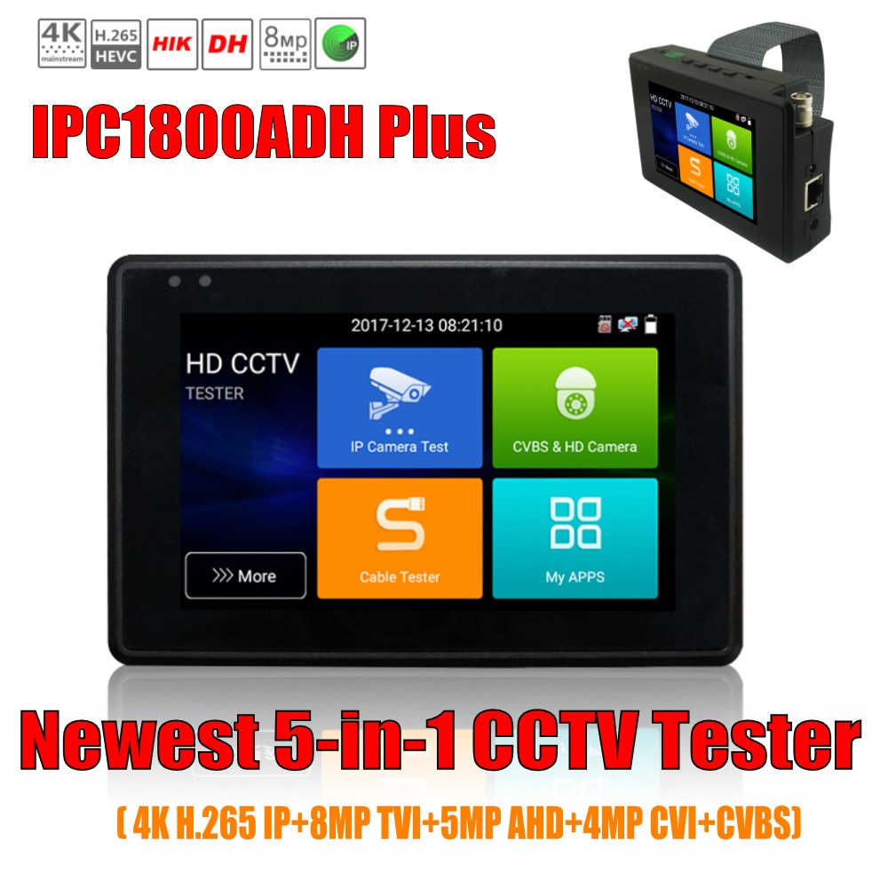 IPC1800 Plus 4 inch coaxial HD 4.0 CCTV Tester Monitor 4K H.265 IP CVI TVI AHD CVBS Camera tester with WIFI hotspot PTZ Control