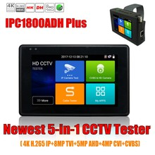 Wanglu 4 inch wrist coaxial HD 4.0 CCTV Tester Monitor 4K H.265 IP CVI TVI AHD CVBS Camera tester with WIFI hotspot PTZ Control
