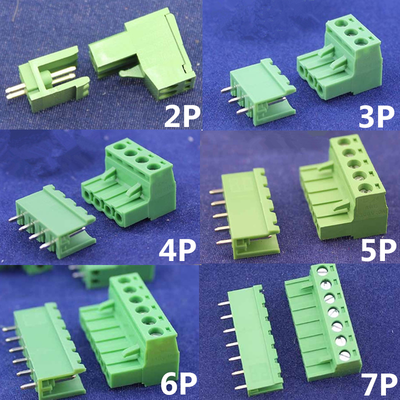 High Quality 10 sets ht5.08 2/3/4/5/6/7/8pin Terminal plug type 300V 10A 5.08mm pitch connector pcb screw terminal block сандалии betsy 977784 01 01 черный р 37 ru