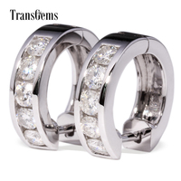 TransGems 1 TCW Lab Growm Moissanite Diamond Hoope Earrings In Solid 18K White Gold For Women