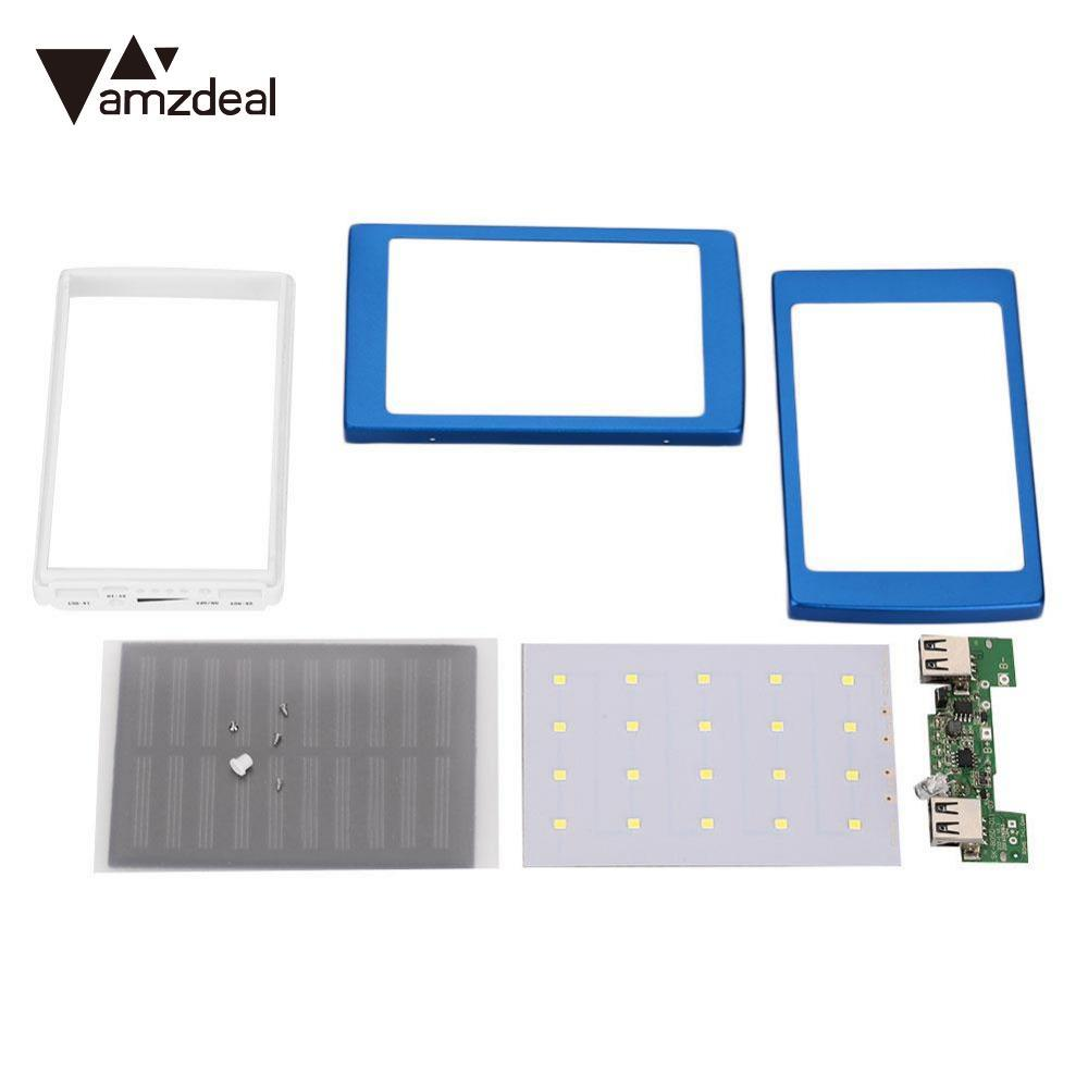 AMZDEAL New DIY Assembling PCBA Motherboard LED Dual USB Solar Panel Power Bank Case Battery Charger DIY Box Material 5x18650 lnmbbs 10 1 inch 8 core tablet et clavier android 5 1 wifi 3g phone call tablet infantil wifi 1280 800 ips 2gb ram 32gb rom 5mp