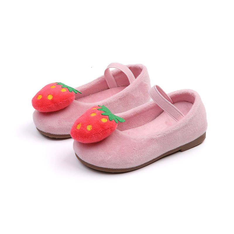 JGSHOWKITO Flock Fabric Girls Shoes Soft Warm Cotton Flats With Fruit Strawberry Pineapple Cute Loafers Children Toddlers Shoes