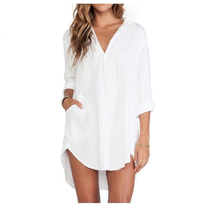 Manches Style Chemise Nouveau Femmes À Blanc 3aj5rl4 2016 D'été tQChdsr