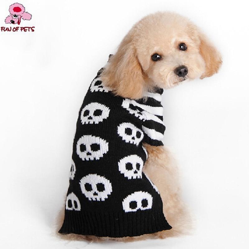 겨울 가을 할로윈 화이트 뼈 해골 흑백 Orlon 개 스웨터 개 옷 애완용 개 할로윈 Costumn