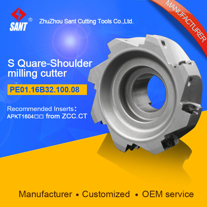 Zhuzhou Sant Indexable milling cutter with 90degree EMP02-100-B32-AP16-08/PE01.16B32.100.08 Mached carbide insert APKT160408Zhuzhou Sant Indexable milling cutter with 90degree EMP02-100-B32-AP16-08/PE01.16B32.100.08 Mached carbide insert APKT160408
