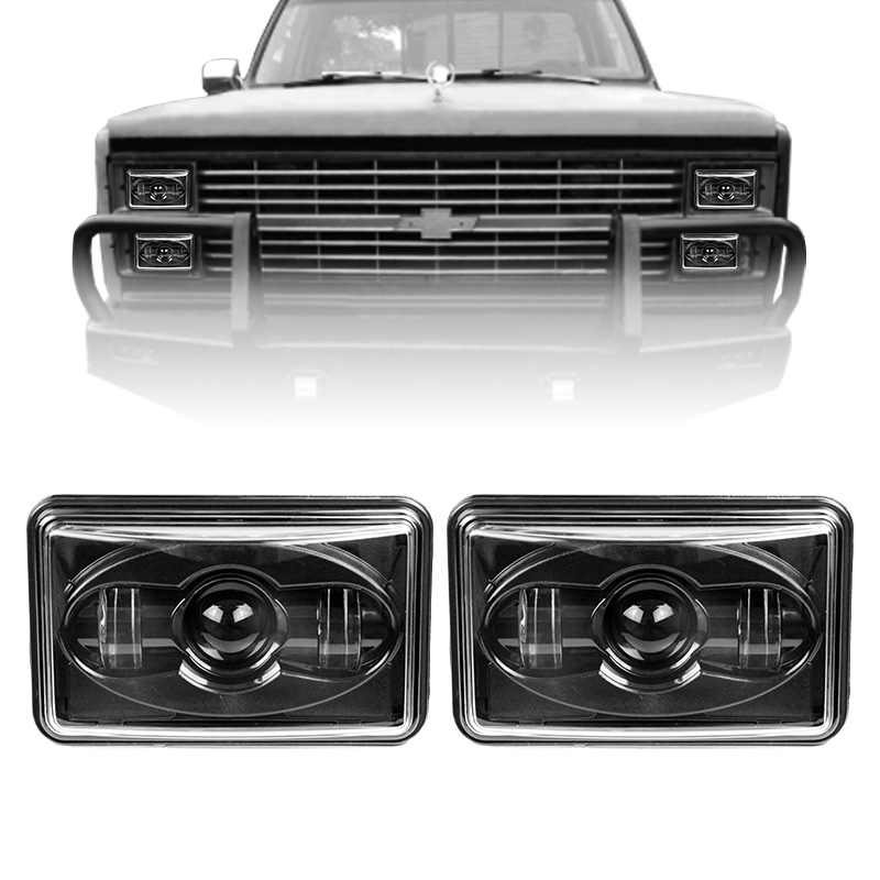 1 Pair 20/40W Off Road 4x6 Inch Square Led Headlight For Truck Bus Car Accessories