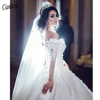 Sexy luxury Long Sleeves Wedding Dresses Off Shoulder Ullusion Pearls Lace Appliques Wedding Gowns Cathedral Train Bridal Dress