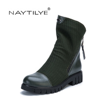 NAYTILYE New 2017 Fashion eco leather PU round toe ankle boots shoes woman Spring Autumn with zipper black green 36-41 size