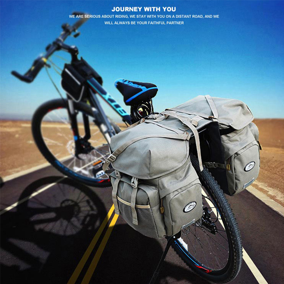 Local Lion 50L vélo de plein air vélos sac arrière coffre bagages vélo siège arrière Pannier réflectivs cyclisme deux sac de rangement unisexe - 2