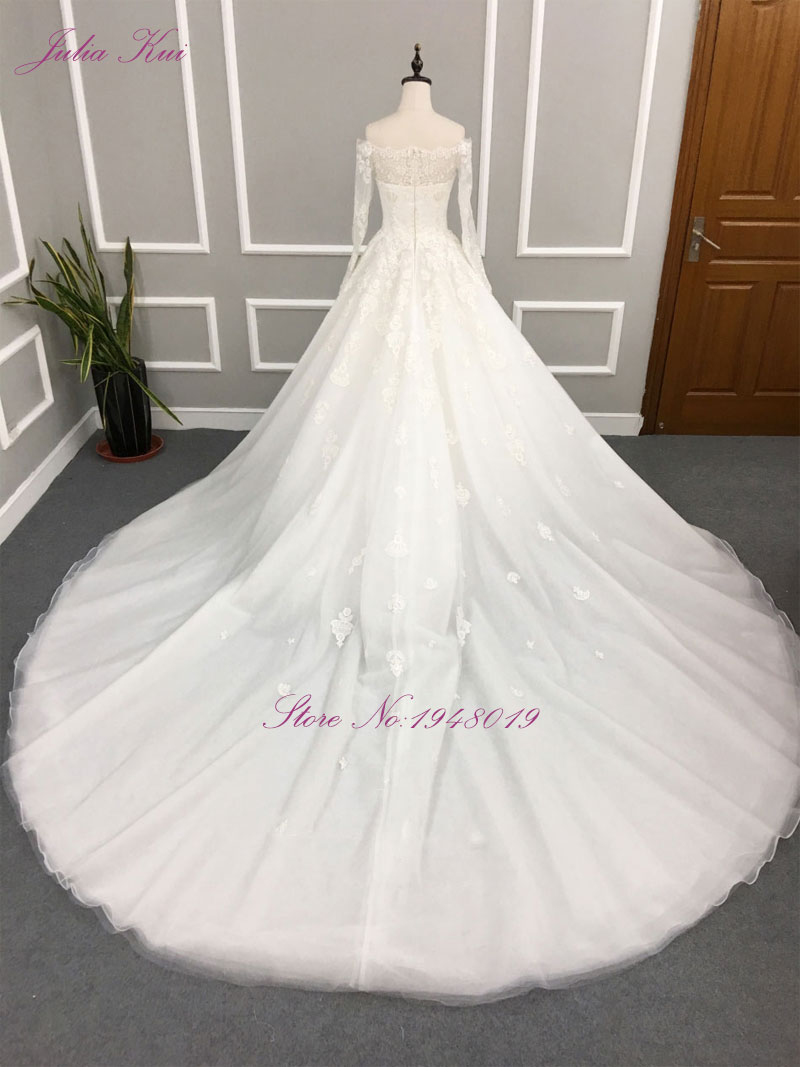 Liyuke Robe De Mariage A Line Prinses Bruidsjurk Uit De Schouder - Trouwjurken - Foto 4