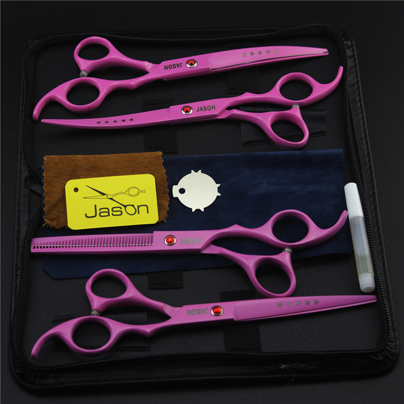 7.0Inch 4Pcs/Set JP440C JASON pink Pet Grooming Scissors Silver Dog Shears Big Straight &Thinning&Curved Scissors