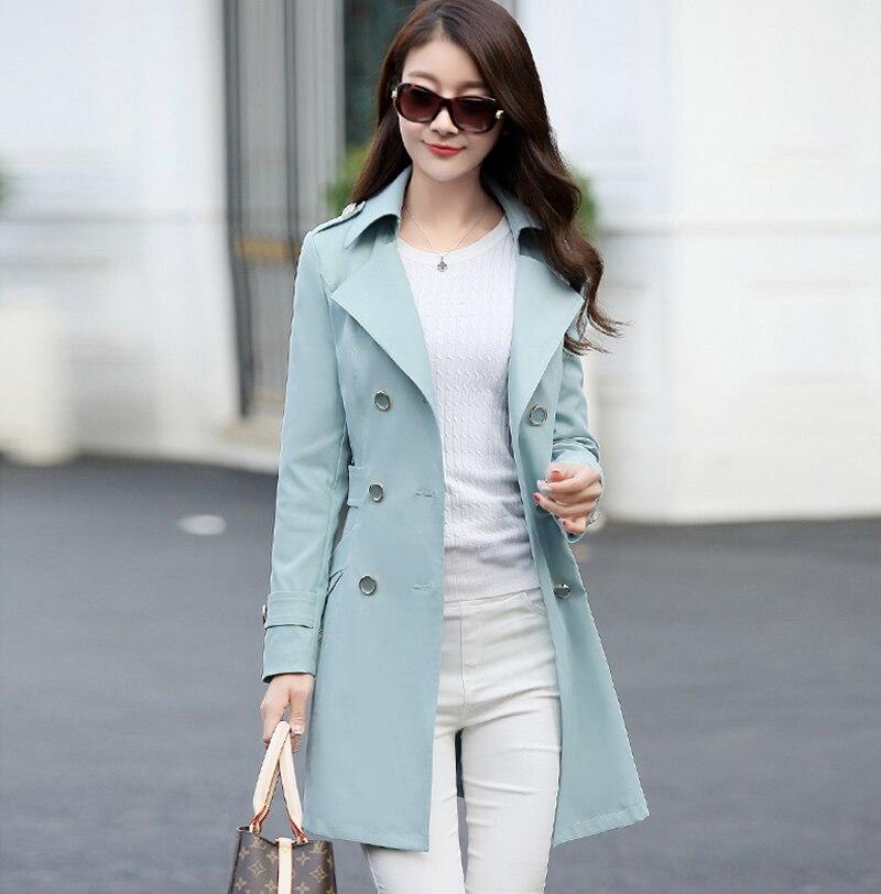 2019 Spring And Autumn Women's Fashion Coat Women's Double Snap Women Slim Thin Large Yard Long Classic Windbreaker Coat Jacket