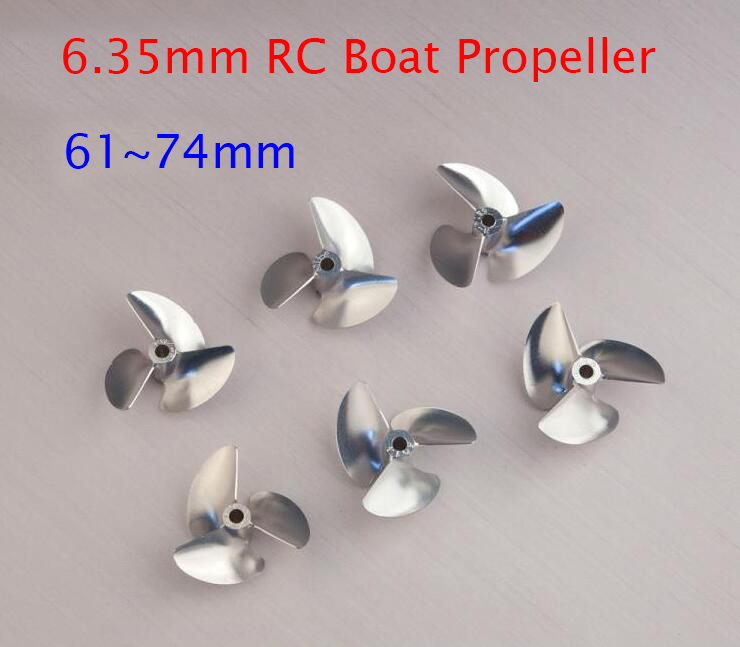 6.35mm CNC RC Boat Aluminum Propeller 3-Blades 61/62/64/66/68/70/74mm RC Racing O Boat Screw Spare Parts