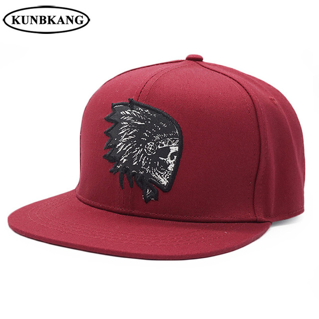875383b377f New Embroidery Skull Baseball Cap Men Women Indian Hip Hop Snapback Hat  Flat Brim Bone Unisex Fashion Bboy Snapback Cap Gorras