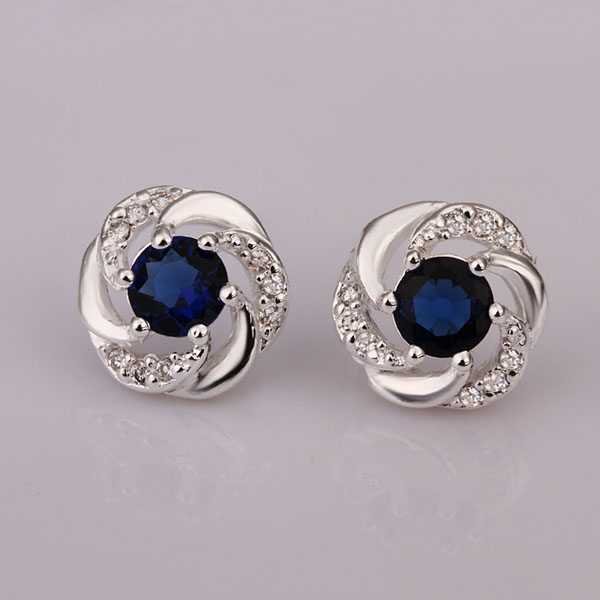 Fashion 925 Sterling Silver Jewelry For Women Natural Stone Blue Austrian Crystal Bridal Wedding Stud Earrings In From