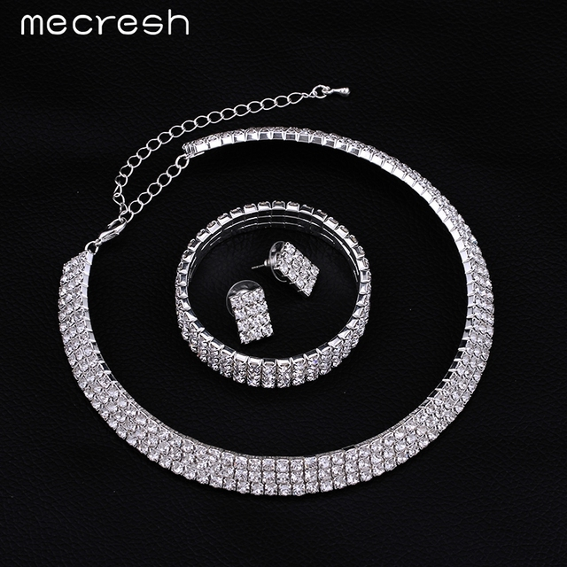 Mecresh 2016 Classic Circle Rhinestone Crystal Wedding Jewelry Sets African Jewelry Set Necklace Earrings Bracelet 3TL001