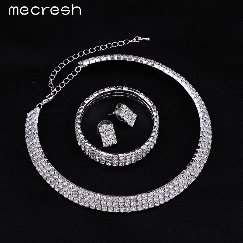 Mecresh 2017 Classic Circle Rhinestone Crystal Wedding Jewelry Sets African Jewelry Set Necklace Earrings Bracelet 3TL001