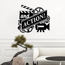 Action Movie Wall Decal Film Reel Cinema Sticker Home Theater Decor Removable Vinyl Mural AY1018