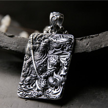 925 Sterling Silver Pendant Guan Yu Hold Broadsword Knight Necklace Pendant for Men/Women Silver Jewelry natural yu pendant genuine 925 silver inlay yu egg noodles a yu necklace pendant accessories female