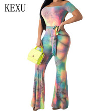 KEXU Women Vintage Tie Dyeing Print Boho Jumpsuits Sexy Open Back Short Sleeve Playsuits with Belt Summer Retro Party Overalls