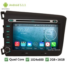 "Quad Core Android 5.1.1 2Din 8 ""WIFI DAB + FM 1024*600 Coches Reproductor de DVD de Radio de Audio para PC Stereo Screen GPS Para Honda CIVIC 2012 2013"