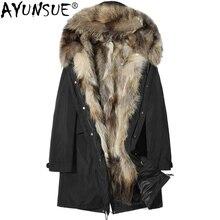 AYUNSUE зимняя куртка мужская одежда натуральный мех енота воротник с капюшоном Подкладка пальто парка Канада Стиль Veste Homme Hiver P-P8238C ZL838