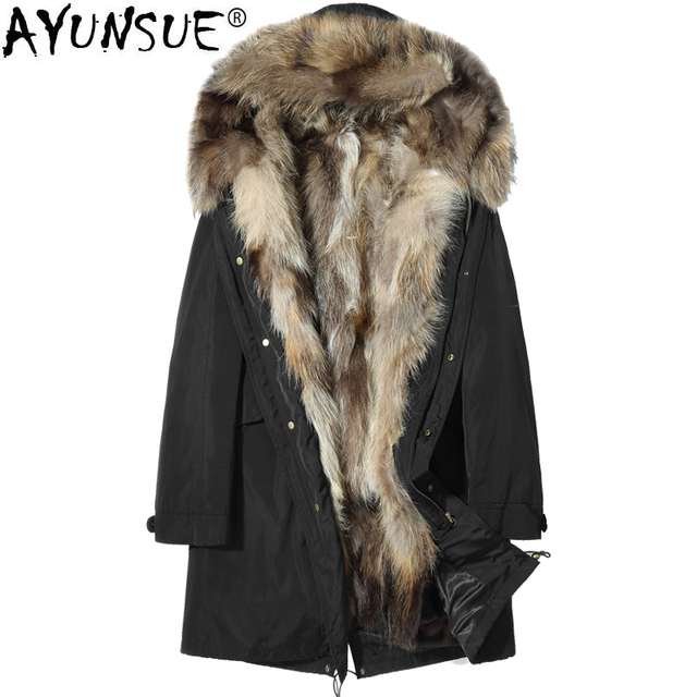 Big Promo AYUNSUE Winter Jacket Men Clothing 2018 Real Raccoon Fur Collar Hooded Liner Coat Parka Canada Style Veste Homme Hiver ZL838
