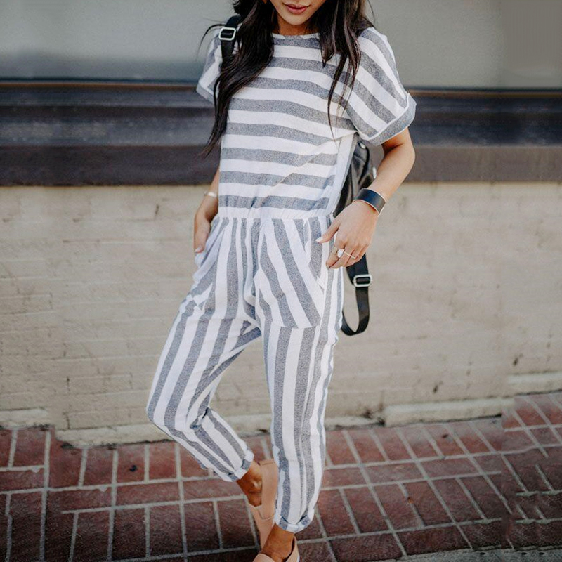 Striped summer playsuit Fashion Womens Casual Short Sleeve Long Pants Stripped Jumpsuit Bodysuit women rompers