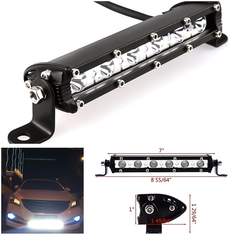 7 inch 18W LED Light Bar Spotlight Offroad Fog Lamp Vehicle 6LED Driving Work Lamp Offroad SUV Truck Tractor 12V LED Bar 7 inch 60w 6d led light bar lamp offroad waterproof 6000k universal work bulbs