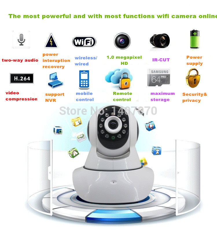 Pan & Tilt IP/Network IP Cam plug&play Onvif 720P Wifi Wireless HD IP Camera cctv 1.0 Megapixel H.264 P2P