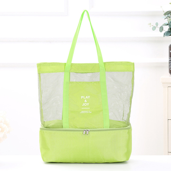 1Pc Women Mesh Transparent Bag Double-layer Heat Preservation Large Portable Insulated Picnic Beach Bags High Capacity New 2019 2