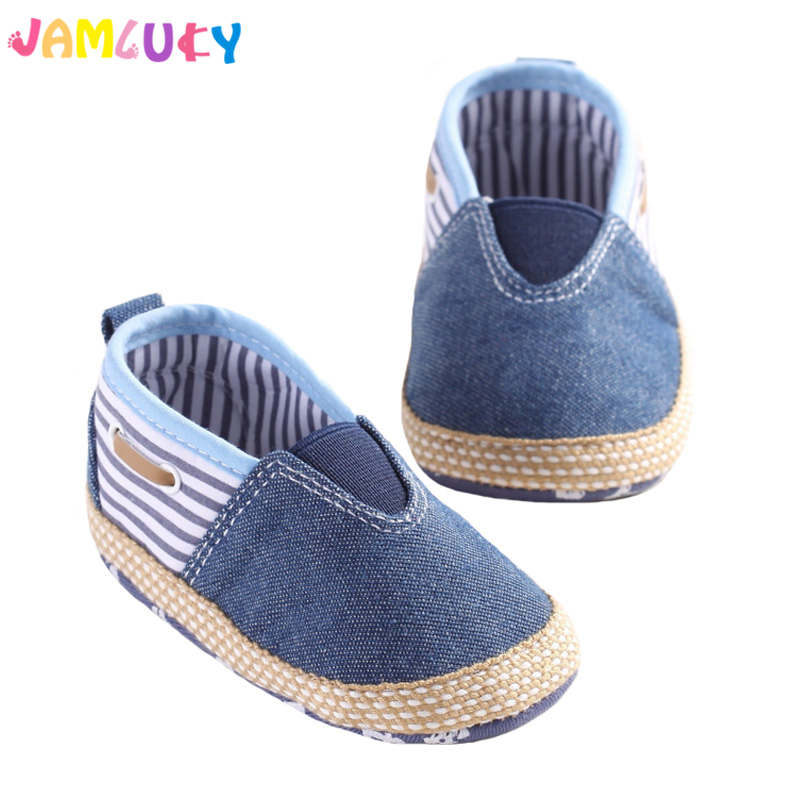 Baby Shoes Infant Shallow Boys Girls Soft Sole Blue Canvas Sneakers Toddler Striped Newborn Shoes 3-15M Slip-On Cotton Baby Shoe