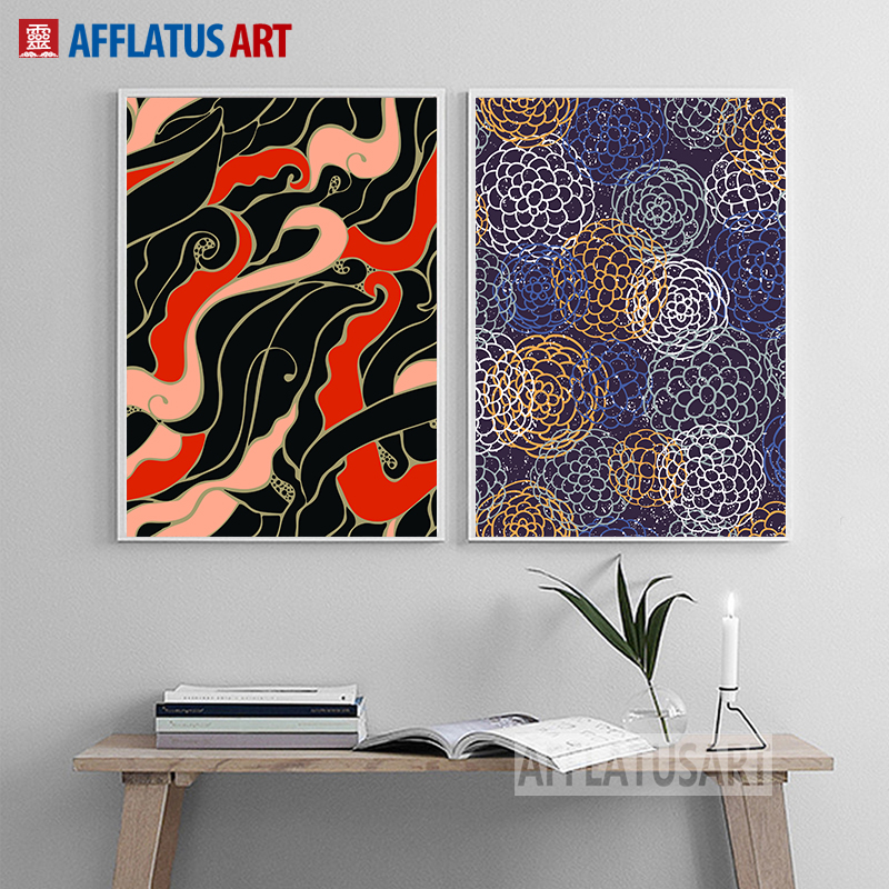 Afflatus Official Store AFFLATUS River Impression Art Freehand Canvas Painting Decorative Painting Wall Living Room Bedroom Study Decor Abstract Poster