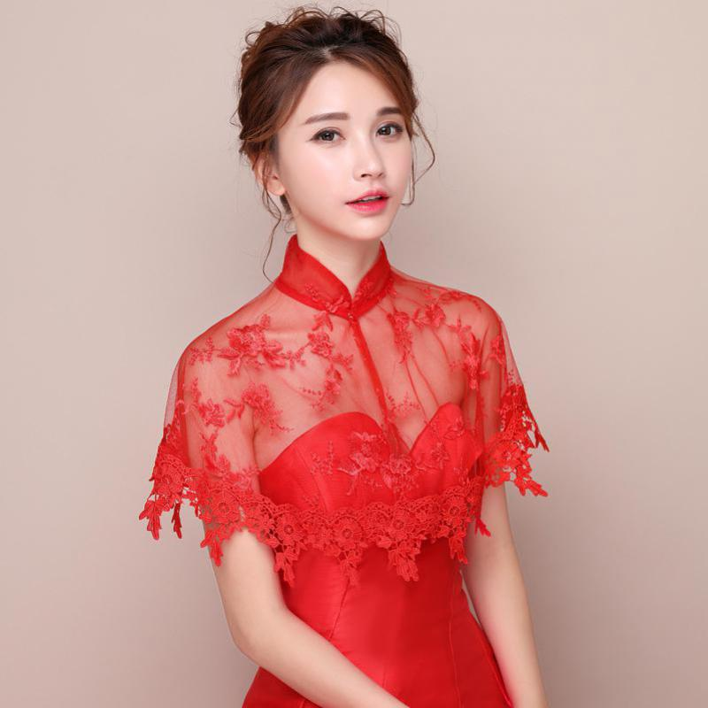 Red Vintage Bridal Lace Jacket Wraps Wedding Party Shawl Capes Summer Women Tulle Bolero For Evening Party Marriage Accessory