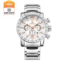 MEGIR 3008 моды кварцевые часы для парня водонепроницаемый световой наручные часы мужские большой циферблат часы
