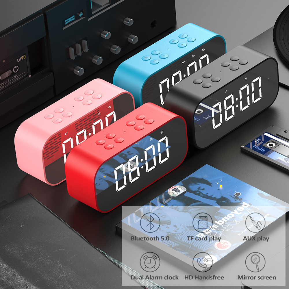 Image 4 - Lewinner Multifunction Wireless Bluetooth Speakers with Clock Home Mini LED Display Digital Table Alarm Clock for Office Bedroom-in Portable Speakers from Consumer Electronics