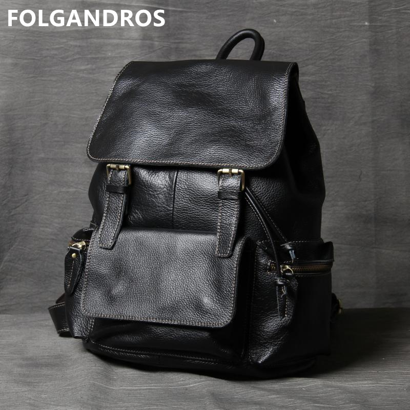 2019 Brand 100% Soft <font><b>Genuine</b></font> <font><b>Leather</b></font> Men Women <font><b>Backpacks</b></font> <font><b>Unisex</b></font> European Style Laptop Shoulder Bag Daily <font><b>Backpack</b></font> School Bolsos image