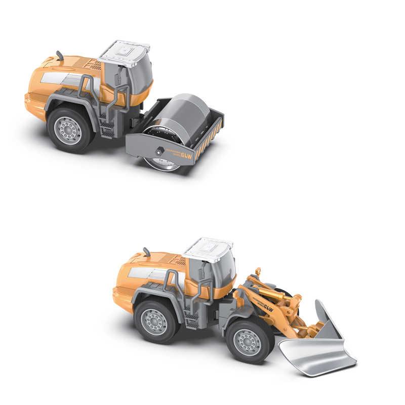 Bulldozer coche + ingeniería rodillo de carretera + carretilla elevadora + pala cargador de aleación cabeza 1:55 simulada vehículo juguetes regalo educativo