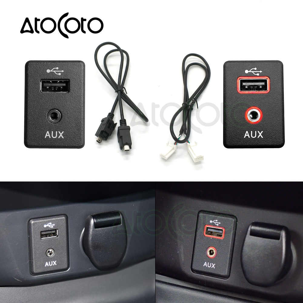 AtoCoto 4 PIN AUX Mini USB Cable Connector Socket for Nissan Teana X-trail Rogue Qashqai Radio CD Navi DA Interface with Light