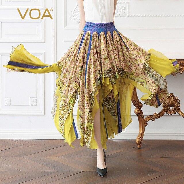 32cc1bd3ad7 VOA Silk Skirt Women Georgette Ruffles Layered Skirts Plus Size 5XL Sexy  Sweet Cute Printed Runway Beach Clothes Luxury C359