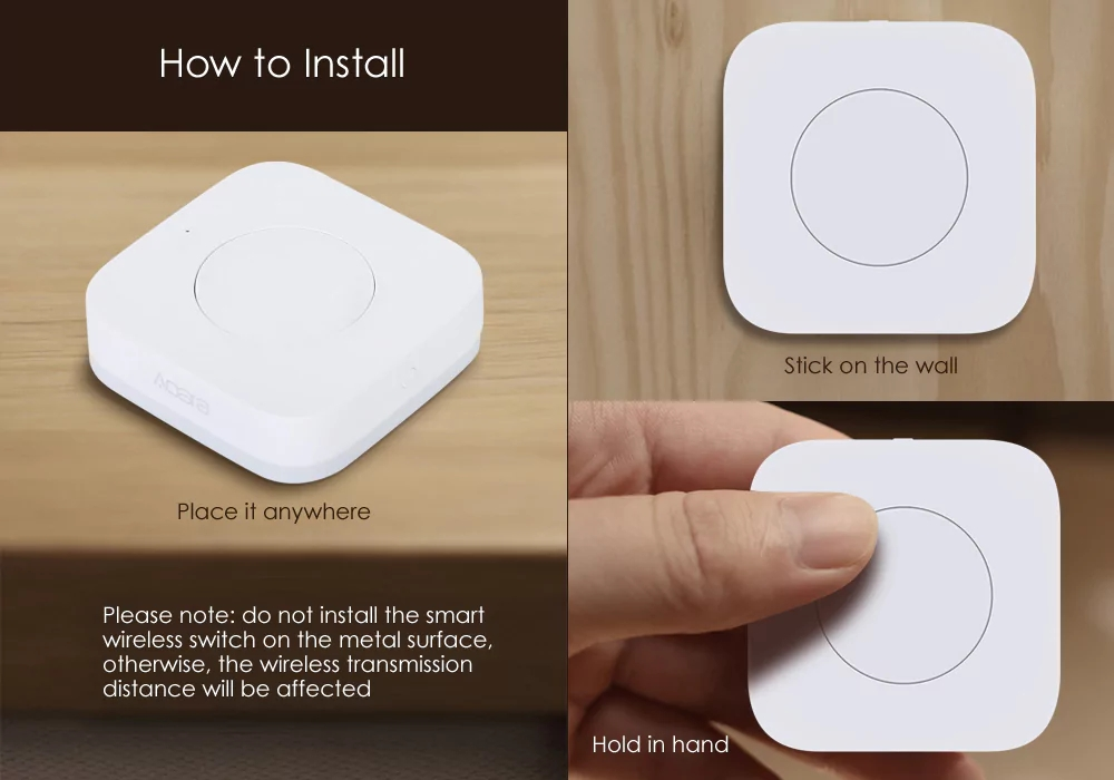 Xiaomi MIJIA Aqara Smart Wireless Switch for xiaomi Smart Home house Remote Control Center for Mijia Home APP Gateway Hub # (1)
