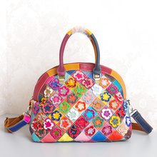 Shell Bag Luxury Design Patchwork handbags women bags Genuine Leather Top-handle bags Colorful Flowers women messenger bags 2016