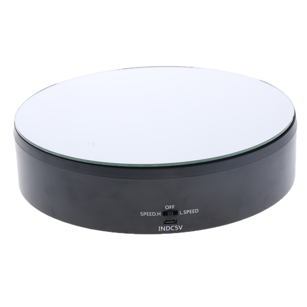 ABS Electric Rotating Display Stand Motorized Mirrored Display Turntable Automatic Revolving Platform Jewelry Packaging Black
