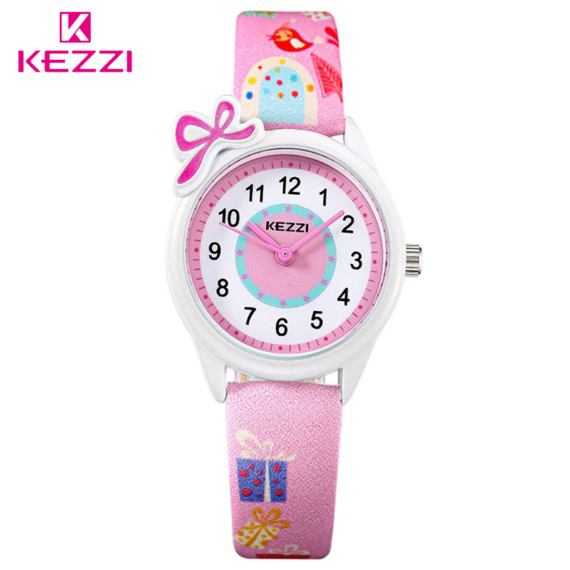 KEZZI Top Brand Kids Children Fashion Watches Quartz Analog Cartoon Leather Strap Wrist Watch Boys Girls Waterproof Gift Clocks north little boys girls children wrist kids watches cartoon 3d dolphin design analog band 30m waterproof blue