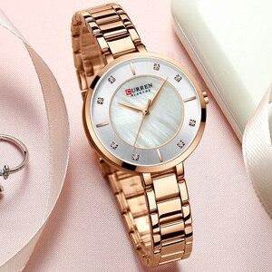 Image 5 - Curren montre bracelet étanche pour femmes, de marque de luxe, de marque supérieure, en or Rose, bracelet pour dames