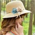 Kesebi 2017 Verano Nueva Moda Femenina Caliente Clásico Simple Beach Sombreros Gorras Mujeres Flores Casual Color Sólido Tejer Sombreros para el Sol