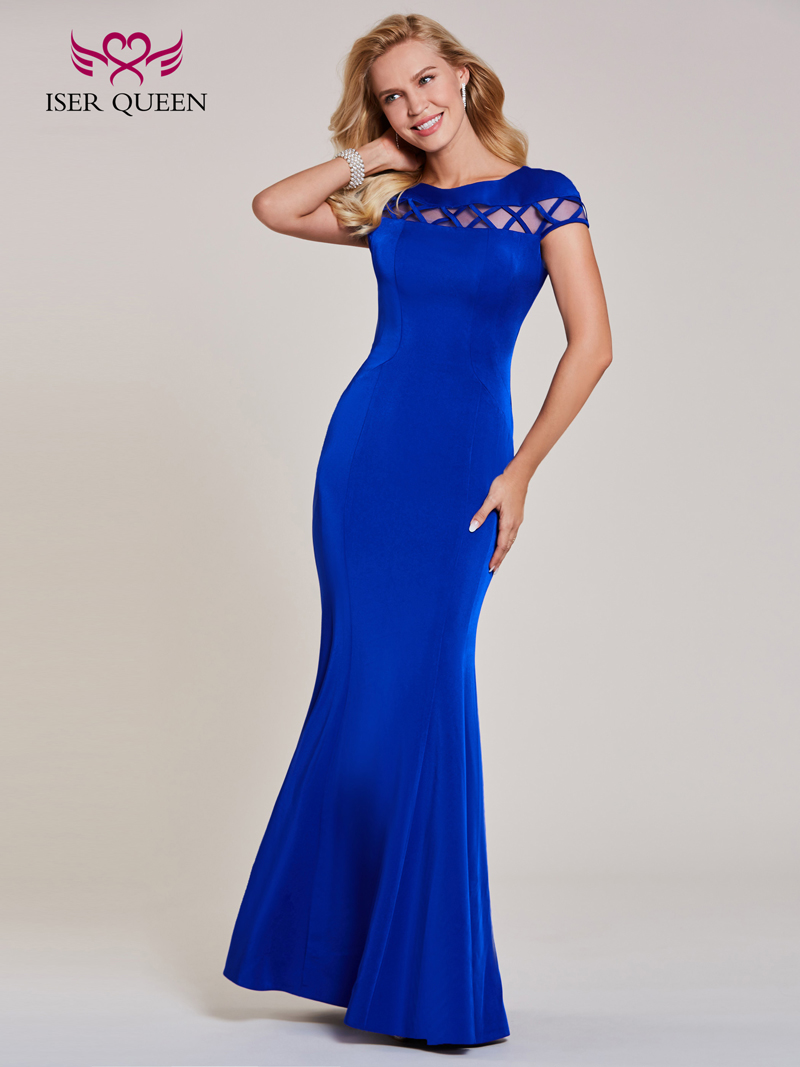 33a172ab06 US $78.0  Europe Simple Design Cut Out Mermaid Evening Dresses Short Sleeve  Boat Neck Royal Blue Plus Size Dinner Formal Dresses EX0021-in Evening ...
