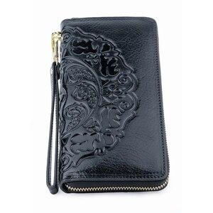 Image 3 - COMFORSKIN uzun Vintage püskül bayan cüzdan Premium hakiki deri benzersiz kabartma çiçek kadın fermuarlı çantalar el halat ile
