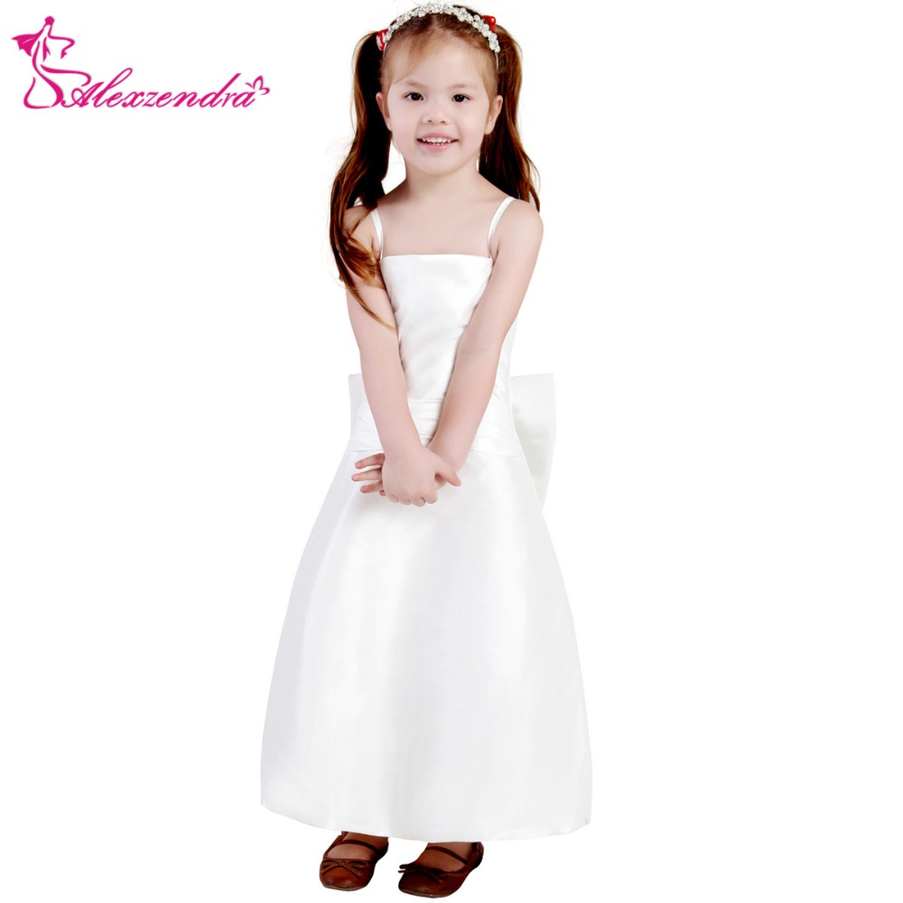 Alexzendra White Ivory Satin Flower Girls Dresses with Bow Cute Girls First Communion Dress Princess Girl Dress