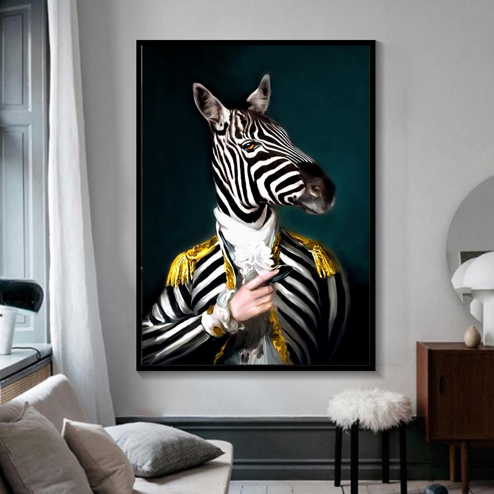 Noir et blanc chic Lion tigre éléphant girafe loup cheval mur Art affiches et impressions Animal portant un chapeau toile peinture